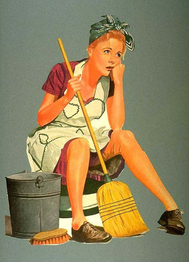 Don't feel sad, woman from the 1950s! TaskEasy will clean your house for you!