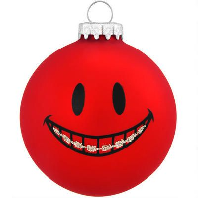 Smile With Braces Glass Ornament. Plan for the next holiday with this ornament (order it from Bronners.com Christmas store in MI).