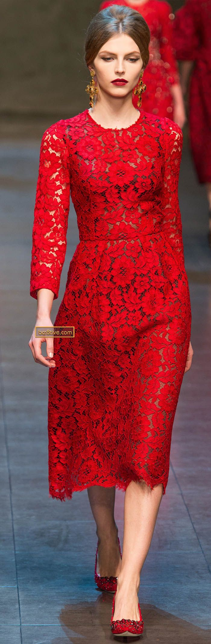 mid-length red lace dress by Dolce & Gabbana