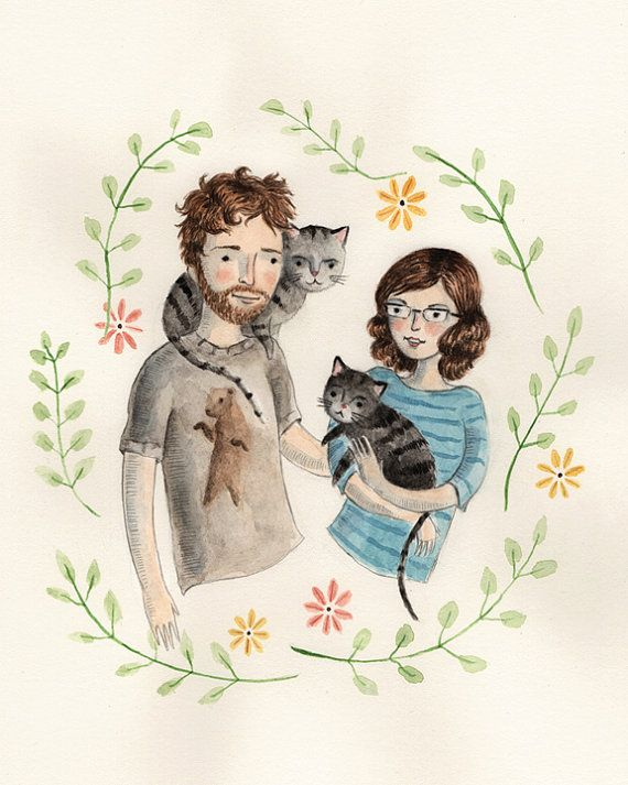 Pay tribute to your family (pets too!) with a custom watercolor portrait.