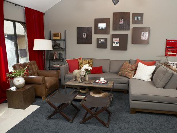 Excellent Red Living Room Sectional Red And White Colored Living Room Caraccident5 Cool Chair Designs And Ideas Caraccident5Info