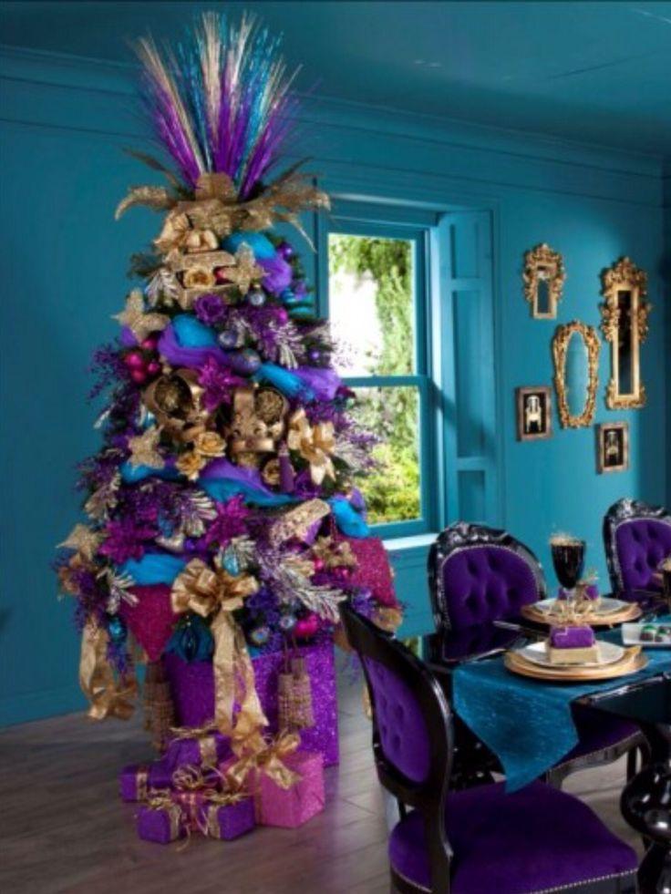tree interior design turquoise purple sc