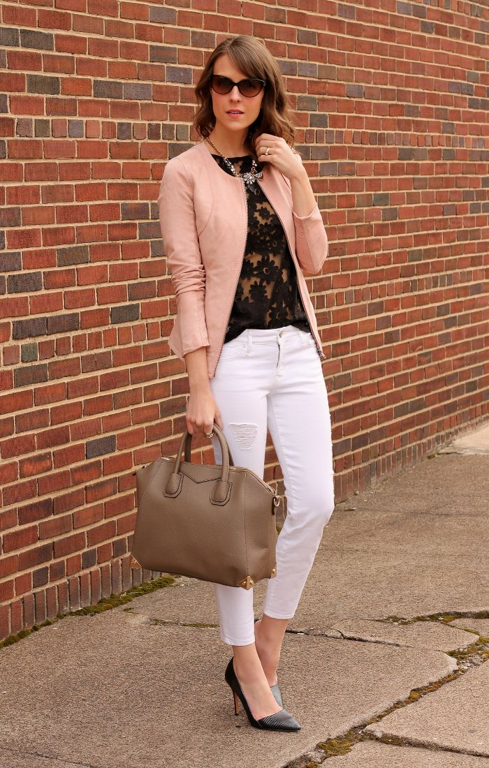 blush leather jacket black lace blouse white skinny jeans black studded pumps