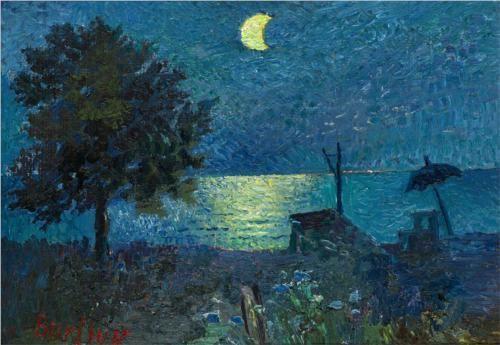 Sea at Night - David Burliuk