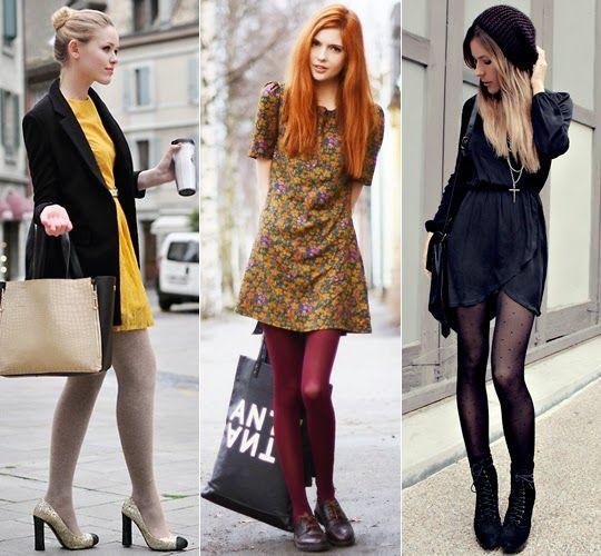 Look vestido com meia-calça