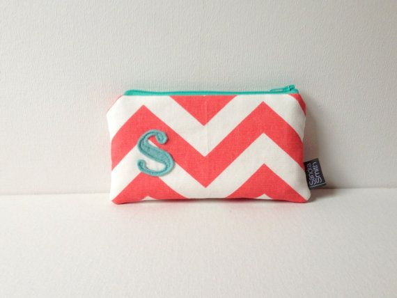 Flat Personalized Cosmetic Bag: Coral &Mint Monogram Bridal Party Gift, Bridesmaid Wedding Card Case  by SandraSmithHandmade