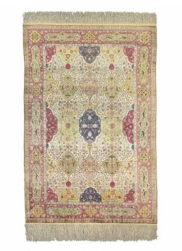 A signed silk and metal-thread Koum Kapi rug, signed, Istanbul, Turkey, circa 1920