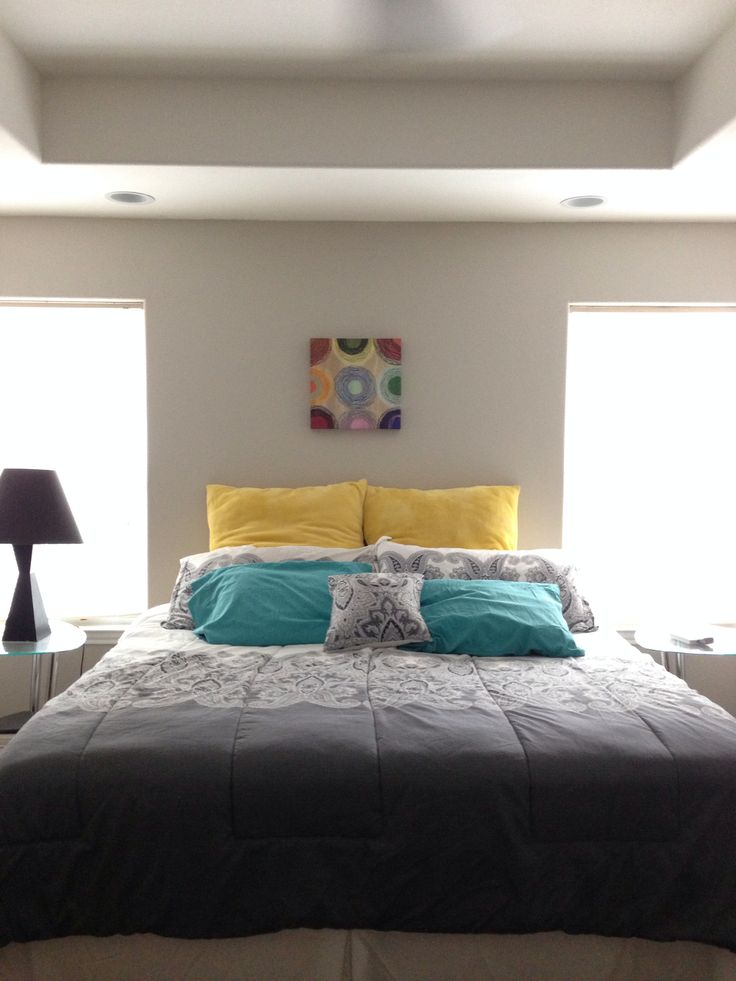 grey teal and yellow bedroom ideas. beautiful scandinavian bedroom,