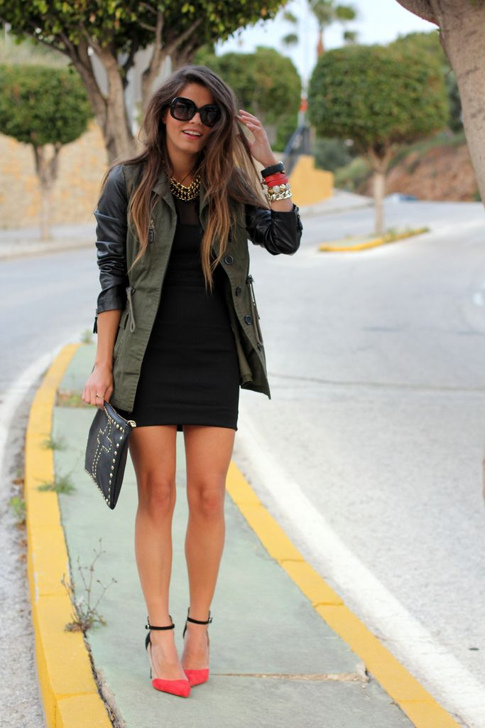 I love the dress with the jacket. I probably would have paired it with red heels though.