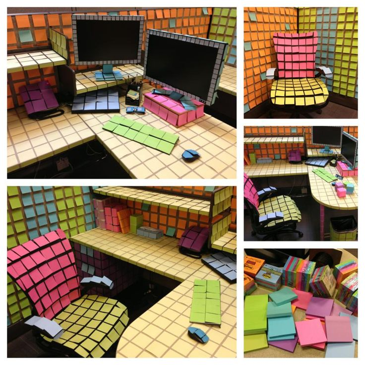 Post - it office prank - can't imagine how long this took! Love this very designer post it note prank!!