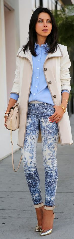 Mother Blue Floral Skinnies by Vivaluxury