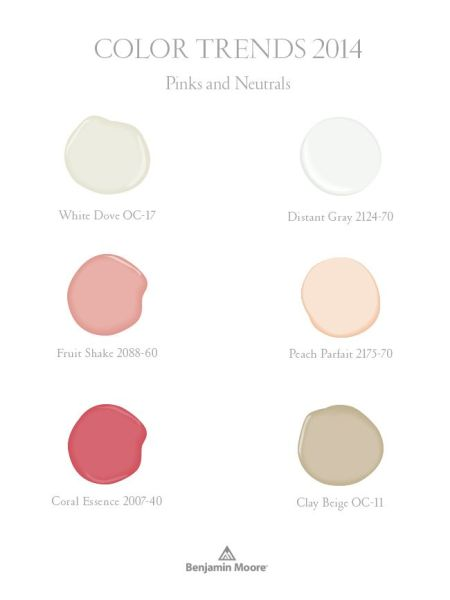Benjamin Moore Color Trends 2014 - pinks and neutrals