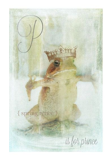 Toad/Frog Alphabet Art Print  Prince  Nursery by LittleRedHairGirl, $18.00 Princess and the frog Toad Prince Alphabet Card Toad © Spring Renee