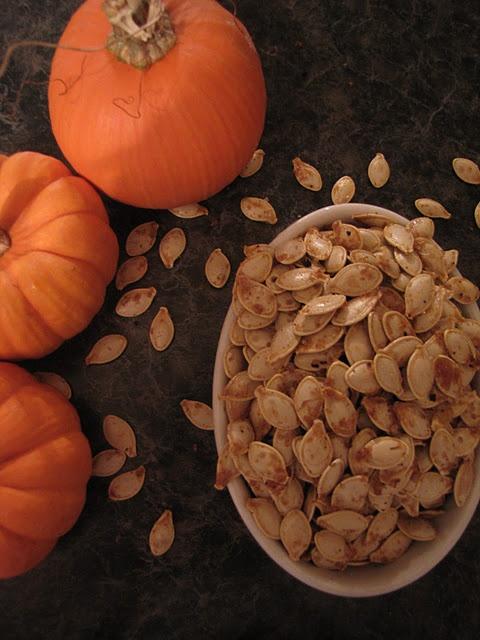 toasted pumpkin seeds. FAVORITE FALL FOOD :)