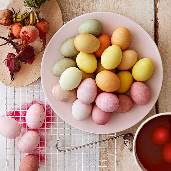 All-Natural Easter Egg Dye Recipes Use these all-natural dye recipes made from household ingredients to create Easter eggs in beautifully subdued shades. Leave eggs soaking in the dye in the refrigerator overnight for the richest colors.