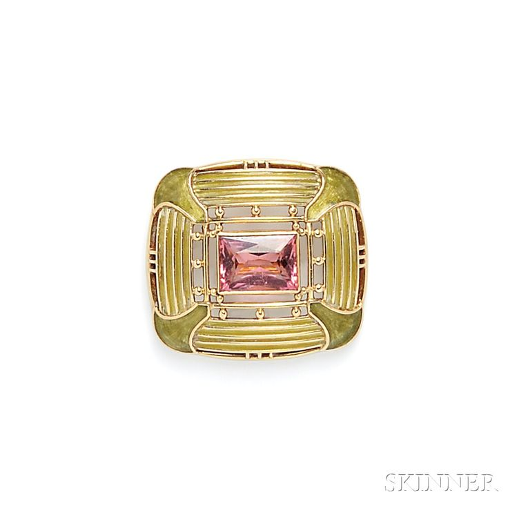 Arts & Crafts 18kt Gold, Plique-a-Jour Enamel, and Pink Tourmaline Brooch, Tiffany & Co., c. 1916