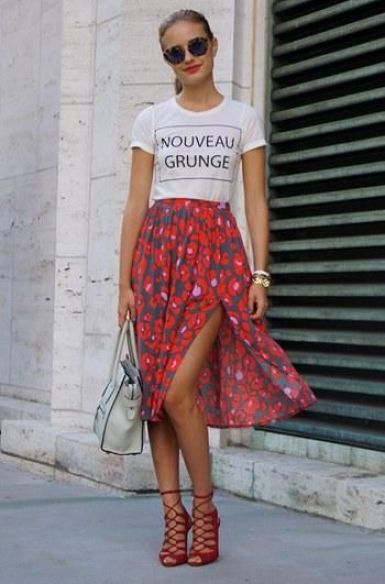 Floral skirt & graphic tee
