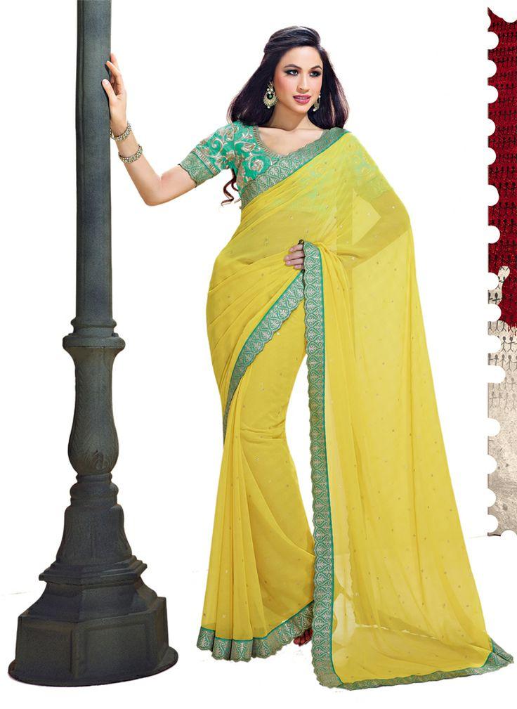 yellow color chiffon designer saree indian wedding sarees pintere