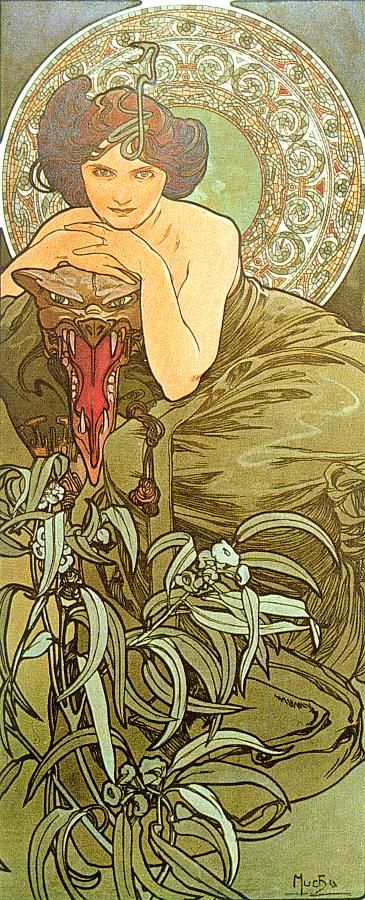 The-Emerald 1900 Mucha    Born on July 24, 1860 in Ivančice, Moravia (now Czech Republic), Alphonse Maria Mucha was a painter and decorative artist who played a major role in shaping the French Art Nouveau movement.