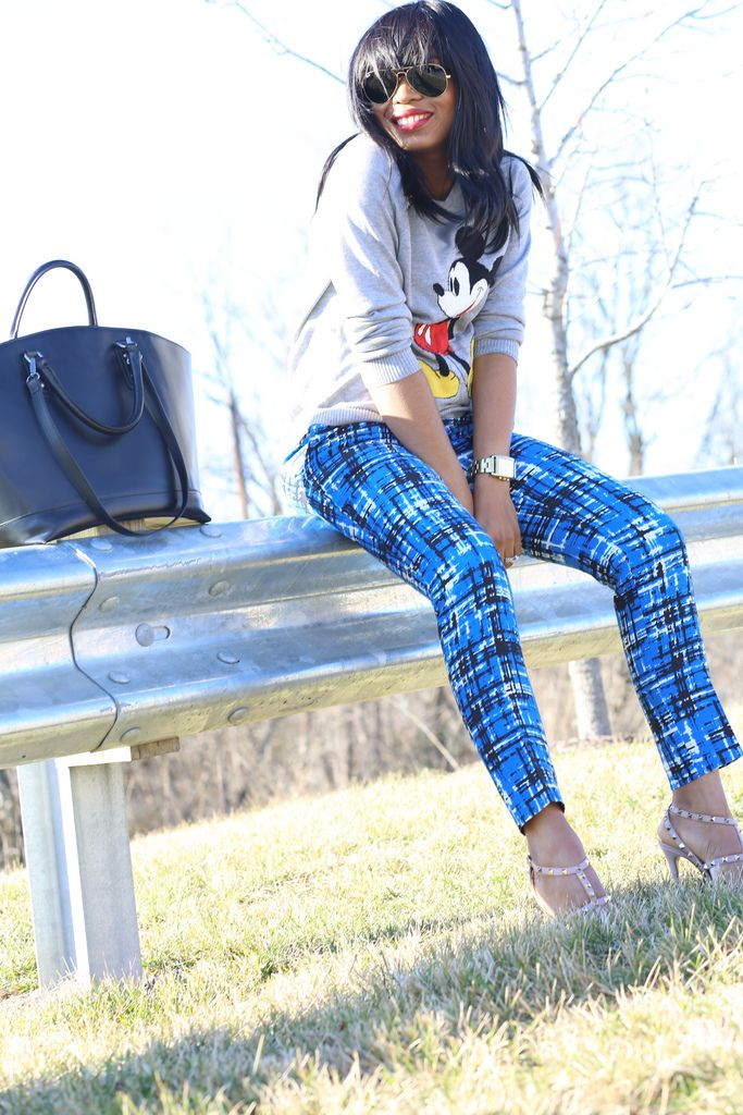 blue pattern pants with sweater