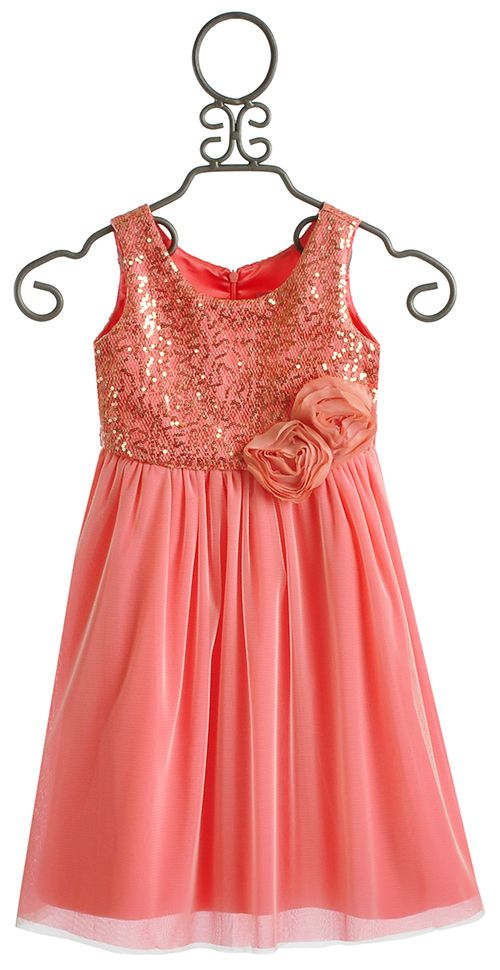 Le Pink Mimosa Coral Girls Dress $79.00  flower girl dresses for the girls for Lauren's wedding! Yay Laur for finding this!