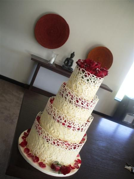 Wedding cake with white chocolate collar and white chocolate lace
