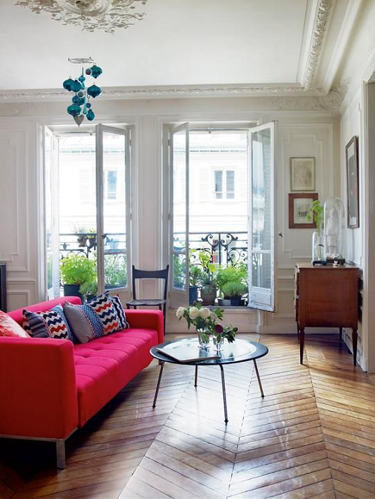 old apartment in Paris with modern flair (love the floor!)