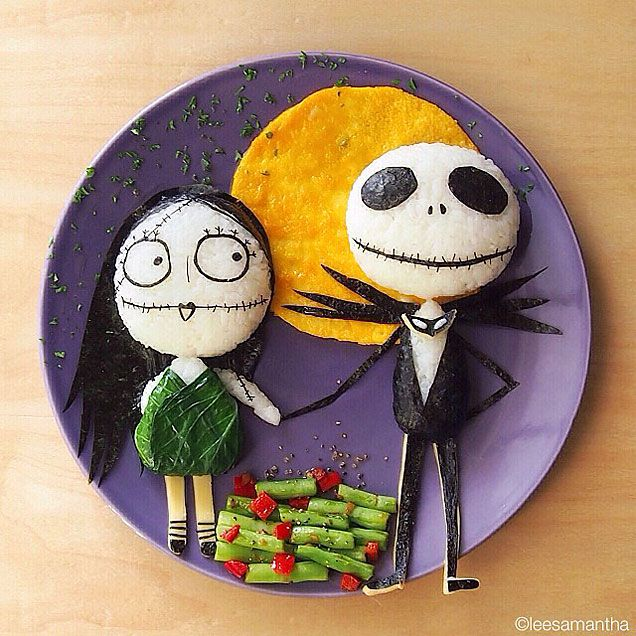 Samantha Lee food art - Nightmare Before Christmas!  http://www.ivillage.com/youve-gotta-see-moms-amazing-food-art/3-a-550288?cid=tw|10-23-13