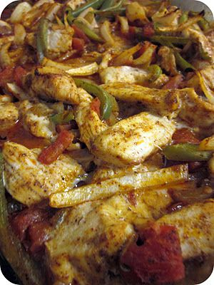 Baked Chicken Fajitas- just throw all the fajita ingredients in the oven and let it bake together.