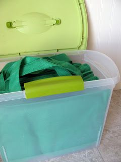 18February Featured Space: Kitchen - Going Green bin in car to hold the reusable bags :)