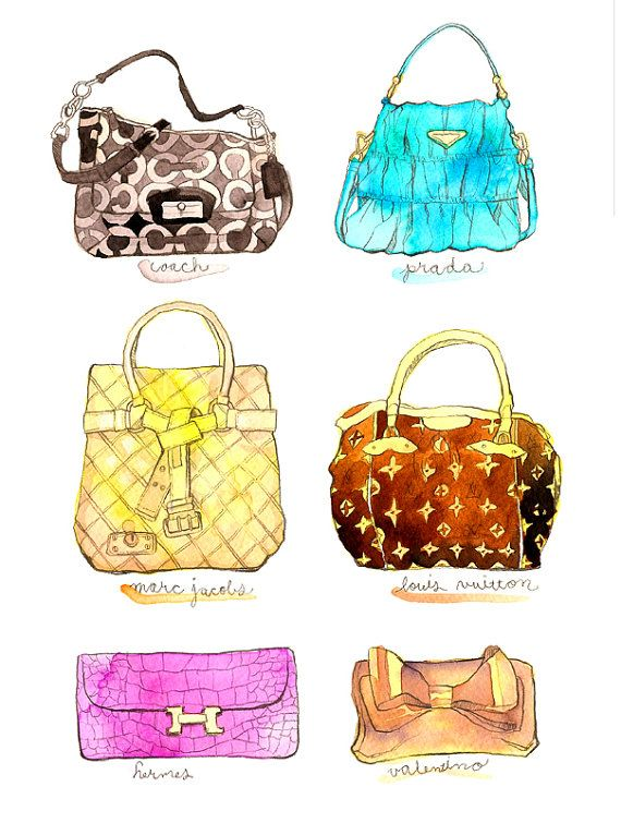 Designer brand purse illustration print #handbag #bag $15