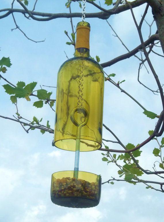 Wine Bottle Bird Feeder #G2Bottle Cutter #bottleart #upcycle