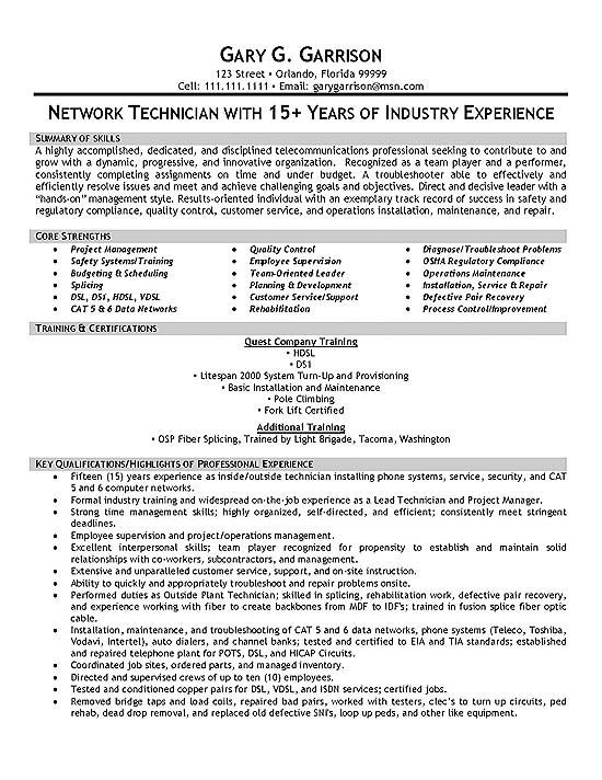 Junior C Programmer Resume. telecom technician resume example ...