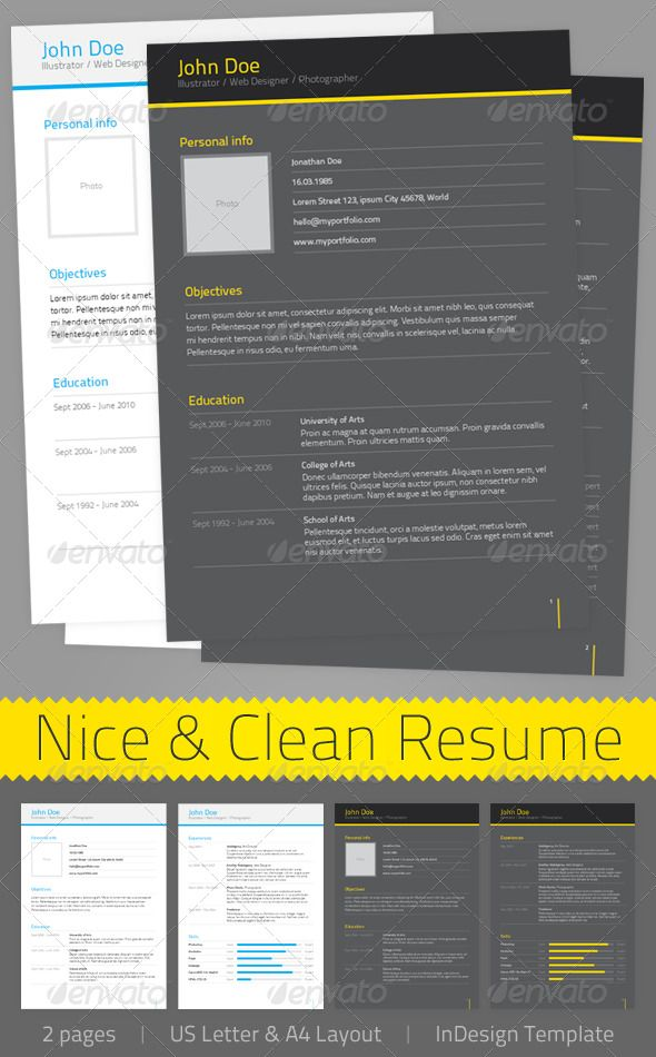 nice amp clean resume resumes stationery indesign resume templates