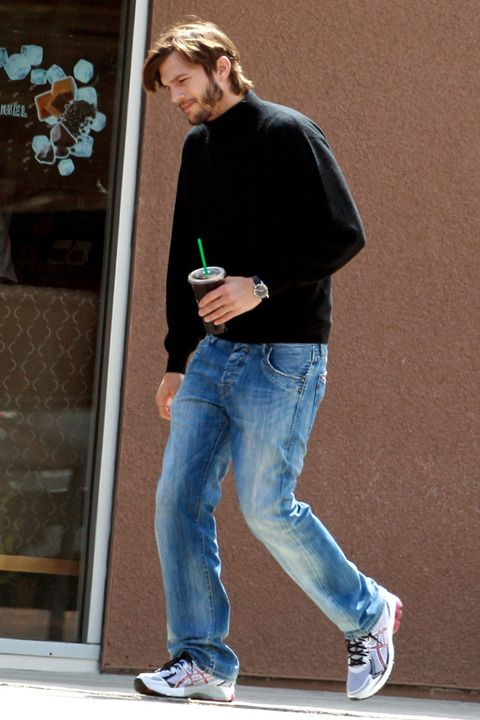 ashton kutcher in steve jobs' costume.
