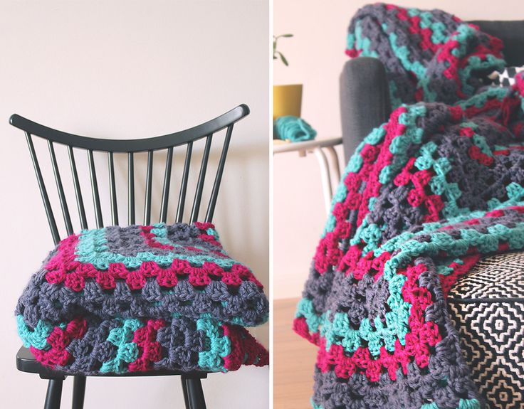 FREE Crochet Throw Blanket Patterns featured by top US crochet blog, Flamingo Toes: DIY Giant Granny Square Blanket