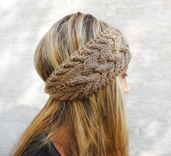 Hand Knit Headband, Winter Headband, Ear Warmer, Button, Cable Knit Headband for Women, Light Brown OR Choose Color on Etsy, $23.00