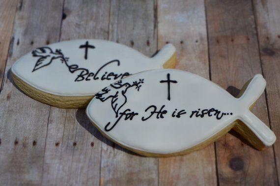 Believe Jesus Fish Christian  Shortbread Cookie Favors via Etsy