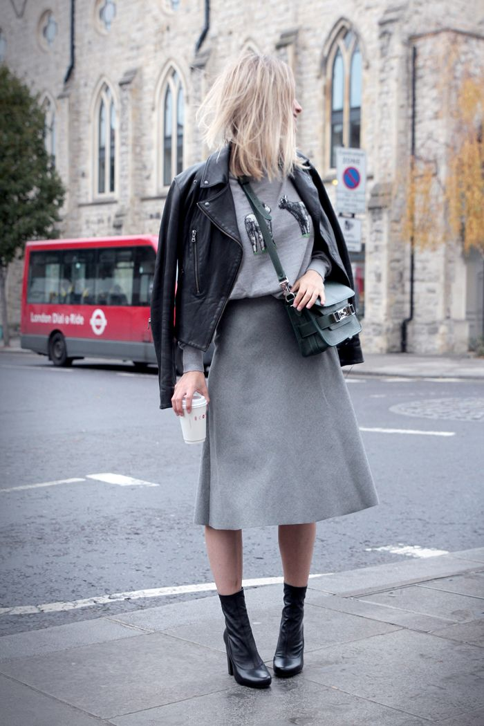 Grey on Grey on Leather #Streetstyle