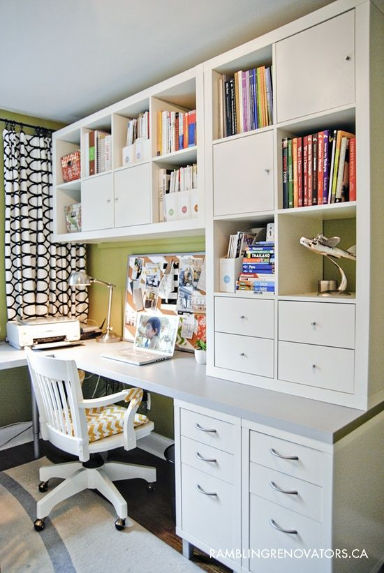 Rambling Renovators: Getting Organized #office #ikea  Home office for 2...nice set up for one wall of your craft room with work table in center...