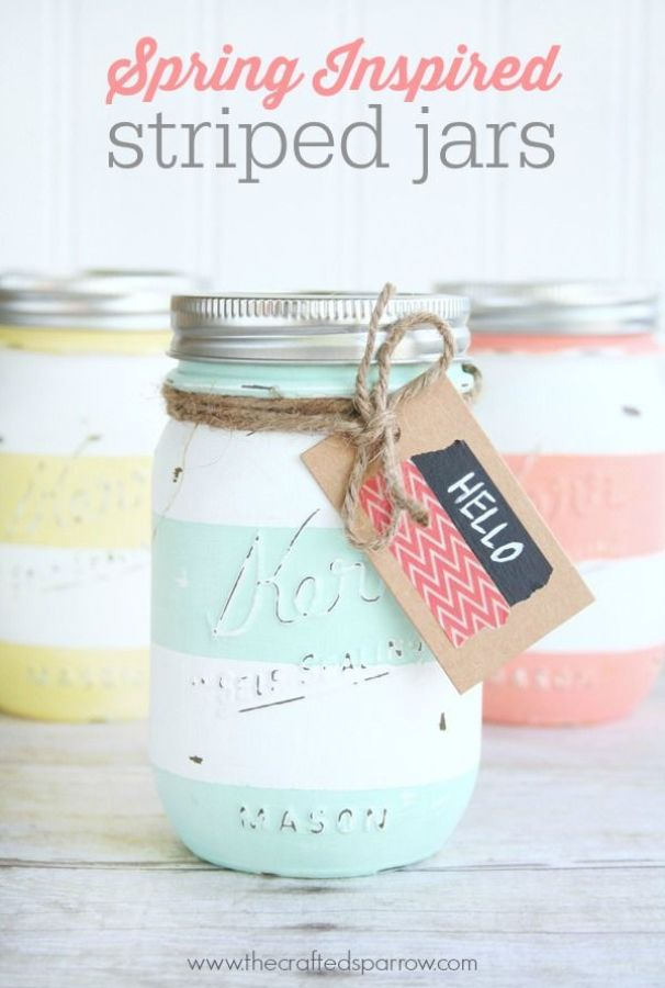 Spring Inspired Striped Jars, using chalky finish paints and mason jars.  thecraftedsparrow.com