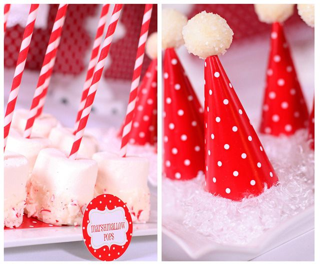 Red and White Candy Christmas Marshmallow Pops #marshmallow #peppermint