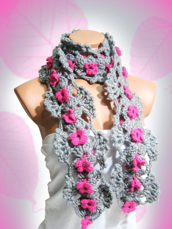 Gray Pink Neckwarmer Crochet Women Scarf by WomanStyleStore, $30.00