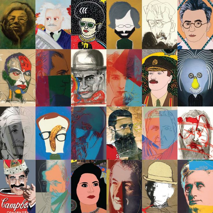 A collage from the exhibition ''Jewish Icons - Andy Warhol and Israeli Artists'', displaying ten portraits of Jews of the Twentieth Century from the 1980 screenprint series by the legendary American pop artist Andy Warhol, alongside portraits of well known Jewish figures by Israeli artists.