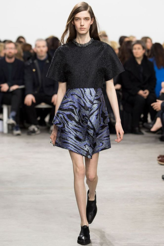 Proenza Schouler fall 2014 RTW, glitter shiny skirt, animal print skirt, black oxfords loafers