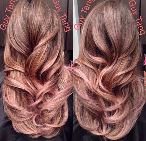 rose gold highlights in brunette hair dark brown hairs