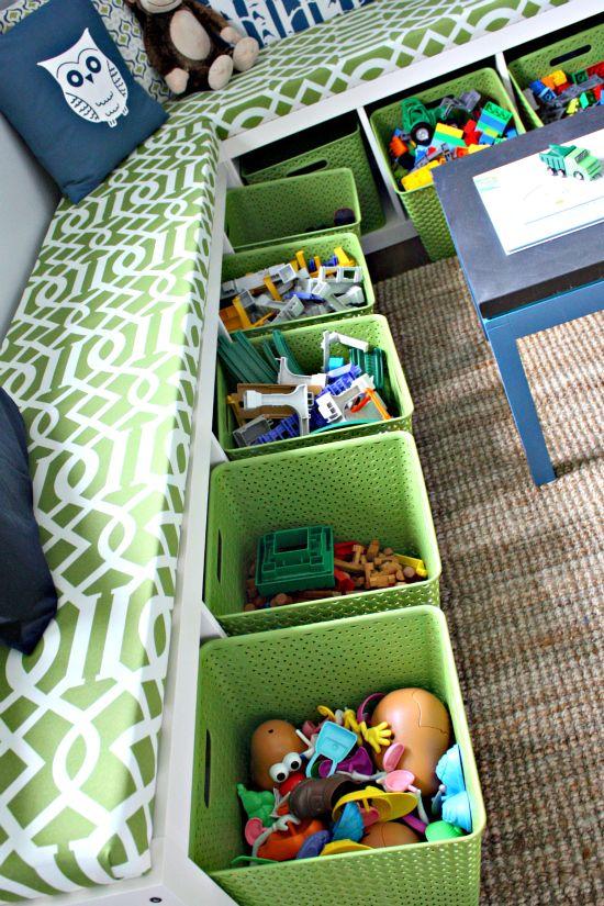 Put an IKEA bookshelf on it's side then use as storage.