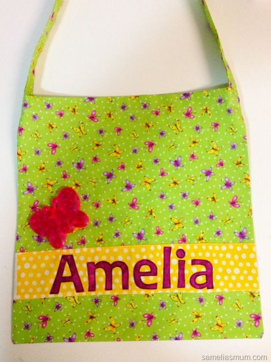 Library Bag with Name Applique
