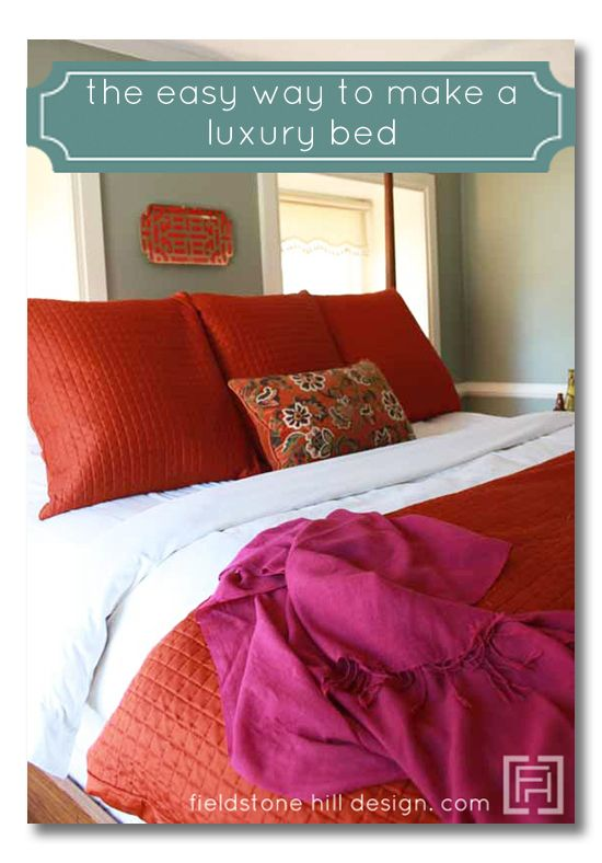 lessons in design :: how to make a luxury bed like the ones you find in European hotels #interiordesigntips #edecorating