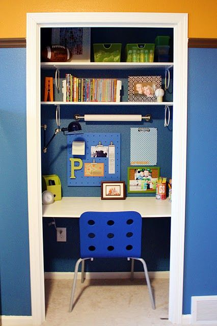 Don't think this would work for our closets (I am a hanger-er, not a folder) but I love how she personalized his study space. Lots of ideas to lift!